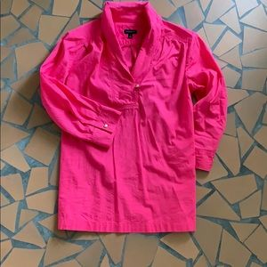 Talbots Tops - Talbots hot pink roll collar top blouse 2